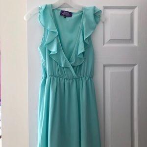 Mint V-cut ruffle dress